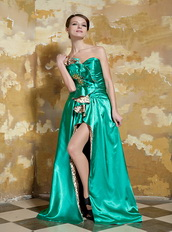 Spring Green Taffta Side Split Prom Dress With Printed Fabric Inside Inexpensive