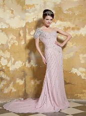 One Shoulder Light Pink Chiffon Slim Prom Dress With Crystals Inexpensive