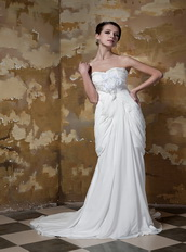 Pretty Sweetheart White Chiffon Side Picks Up Skirt Prom Gowns Inexpensive