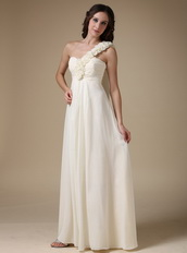 Ivory Chiffon Prom Dress With One Shoulder Rosette Strap Inexpensive