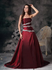 Customized Tailoring Strapless Appliqued Prom Dress In Burgundy Inexpensive
