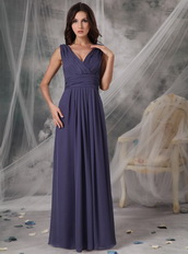 Dark Mineral Blue Long Prom Dress With V-neck Skirt Inexpensive