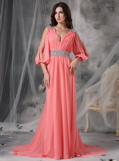 Watermelon Split Sleeves V-neck Sexy Prom Dress Chiffon Inexpensive
