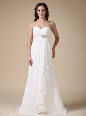 Elegant White Chiffon Lady Prom Party Dress With Beading Inexpensive