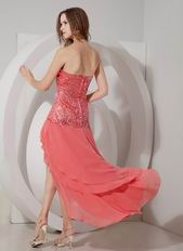Watermelon Sequin High-low Layers Prom Dress For July
