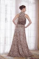 Sexy High-neck Leopard Printed Chiffon 2014 Prom Dress Discount