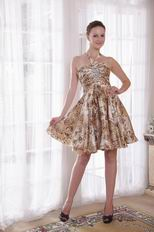 Sexy Halter Knee-length Printed Short Prom Dress For Girl