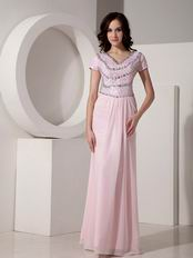 Baby Pink Sequined Floor-length Cheap Prom Dress With Crystal