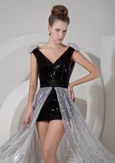 Black Column V-neck Sequin Detachable Evening Cocktail Dress