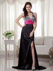 Black and White Printed Zebra Prom Dress With Fuchsia Sash