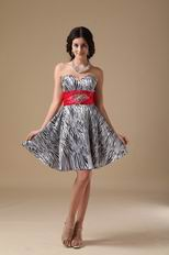 Cute Mini-length Zebra Sweet Sixteen Girl Dress With Belt