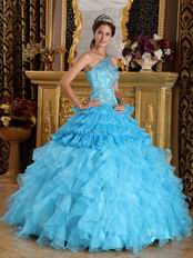 Aqua Blue Ruffles One Shoulder Gradient Fading Color Quinceanera Dress