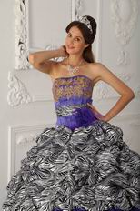 Strapless Ball Gown Purple Quinceanera Dress With Zebra Design