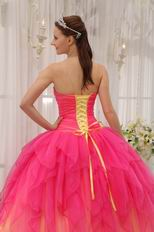 Beautiful Strapless Hot Pink Cascade Putty Skirt 2014 Quinceanera Dress
