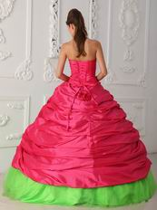Fuchsia And Spring Green Sweetheart Embroidery Dress For Quinceanera Party