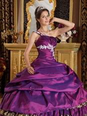 Cheap Puple Taffeta and Leopard Print Layers Skirt Quinceanera Gown