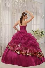 Best 2014 Appliqued Ruby Red Quinceanera Dress With Leopard Fabric