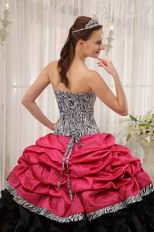 Brand New Sweetheart Fuchsia Quinceanera Dress With Zebra Fabric