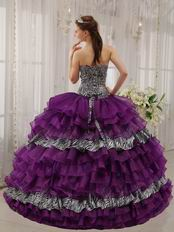 Sweetheart Purple And Zebra Layers Quinceanera Dress For 2014