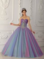 Multi-color Sweetheart Princess Floor-length Tulle Quinceanera Dress
