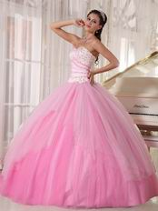 Cute Sweetheart Floor-length Tulle Fading Pink Girls Quinceanera Dress