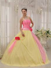 Strapless Appliqued Daffodil Skirt Quinceanera Dress With Pink Flowers