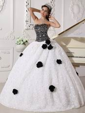 Black Sequin Bodice Rolled Fabric Flowers Quincenera Party Dress Girl