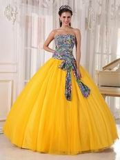 2014 Dark Yellow Quinceanera Dress With Printed Fabric Bodice Design