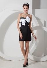 Black Mini-length Beaded Sexy Short Prom Dress With Bowknot