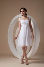 Beaded Other Side Zipper White Chiffon Short Prom Party Dress