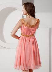 A-line Bateau Neck Watermelon Chiffon Short Prom Dress
