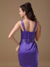 Blue Violet Column Straps Mini-length Short Prom Dress