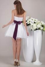 White Princess Strapless Belt Short Prom Dress For Girl