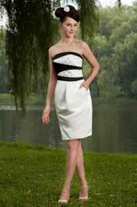 Cheap Strapless Crystal Bodice Column Ivory Short Prom Dress