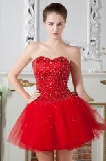 Lovely Sweetheart Dark Red Net Short Party Dress With Beading