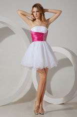 Wholesale Lovely Strapless White And Fuchsia Short Ceremony Dresses