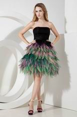 Unique Colorful Mini Skirt Strapless Girls Prefer Short Prom Dress