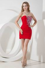 Sweetheart Column Skirt Red Chiffon Short Prom Dress With Side Applique