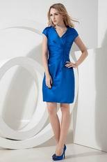 Modest V-Neck Column Dodger Blue Top Designer Short Prom Dress