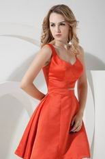 Sexy Straps Knee Length Orange Stain Skirt Prom Dress Short