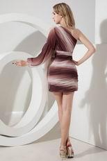 One Shoulder Single Long Sleeve Contrast Color Short Prom Dress