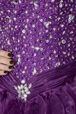 Grape Organza Sweetheart Beading High Low Short Prom Dress