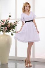 Black Belt Short Sleeves White Dress For Prom Party Under 100