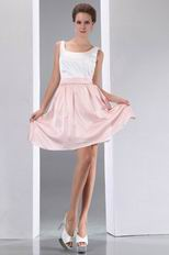 Terse Straps Square White And Pink Short Prom Dress On Sale