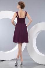 Sexy Spaghetti Straps Ruched Empire Purple Chiffon Short Prom Dress
