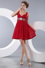 Cute Straps Empire Waist Wine Red Dress Ready To Prom Wear