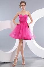 Lovely Sweetheart Neck Corset Fuchsia Short Prom Dress