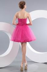 Lovely Sweetheart Neck Corset Fuchsia Short Prom Dress