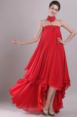 Red Strapless High-low Red Chiffon Embroidery Maternity Prom Dress
