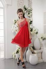 One Shoulder Designer Red Chiffon Short Prom Dress With Beading